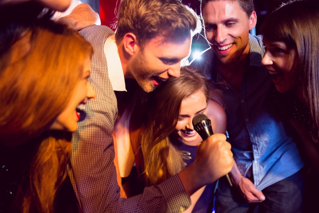 Singing karaoke, a great way to be instantly happy.