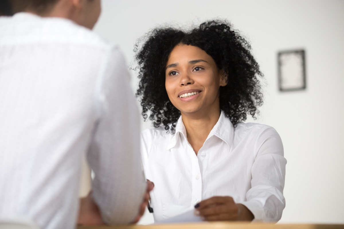 woman at job interview, stay at home mom