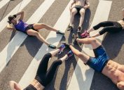 group with abdominal muscles abs