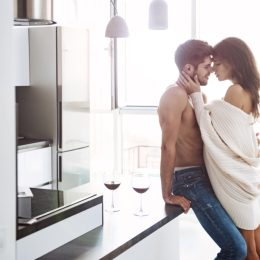 couple kissing in kitchen, weed and sex