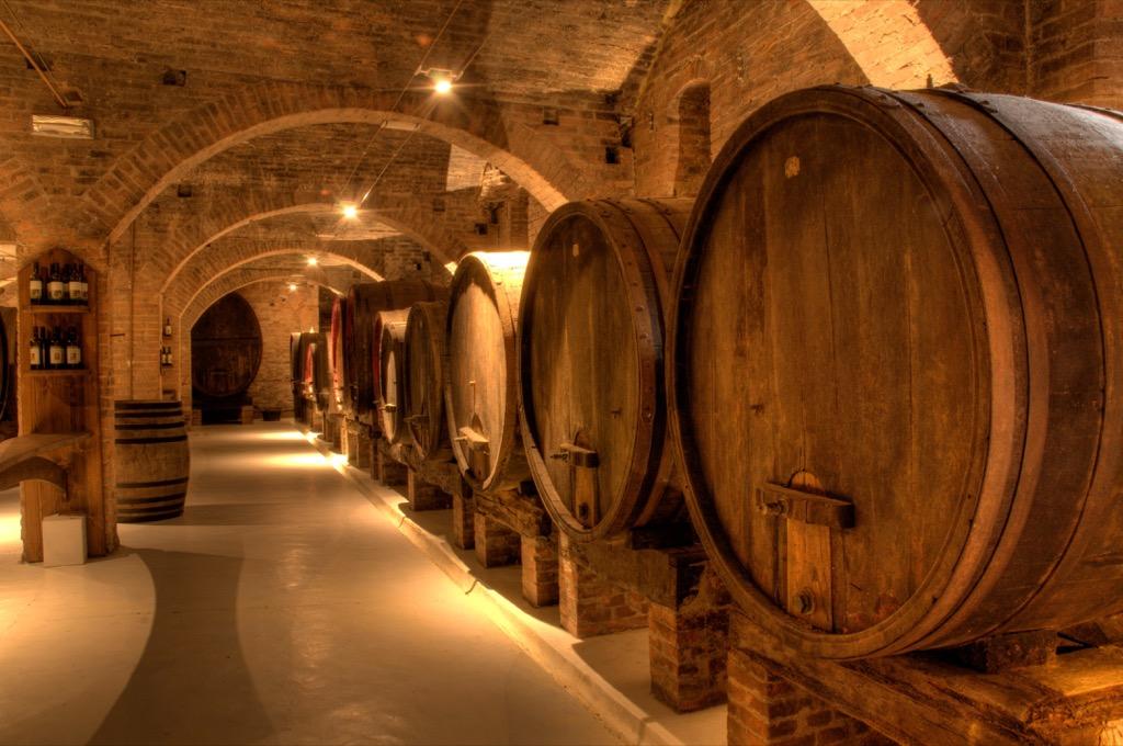 Barrels of wine in a cellar.