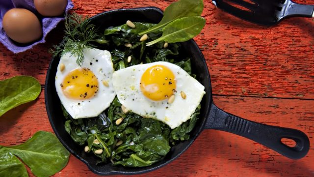 Eggs on spinach, over 40