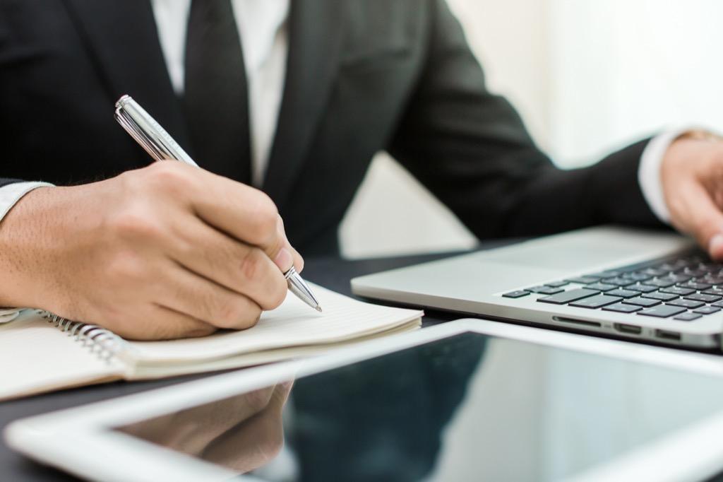 Businessman notepad desk, more time, productivity