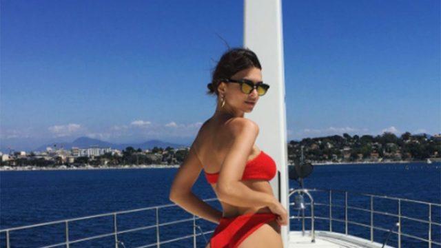 Emily Ratajkowski on a yacht in Cannes