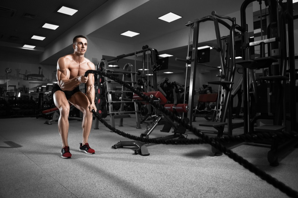Total body workouts battle rope exercise