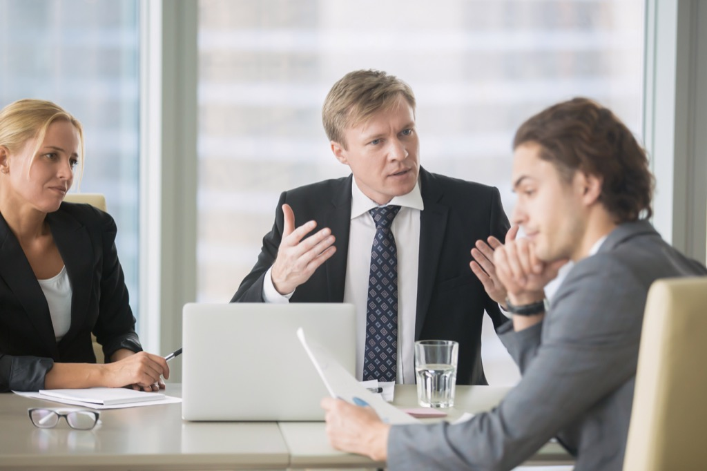 Frustrated boss berating employee who would appear to be in the wrong job.