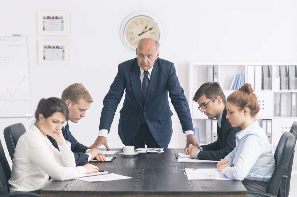 Angry boss presides over meeting. If you work for him, you're in the wrong job.
