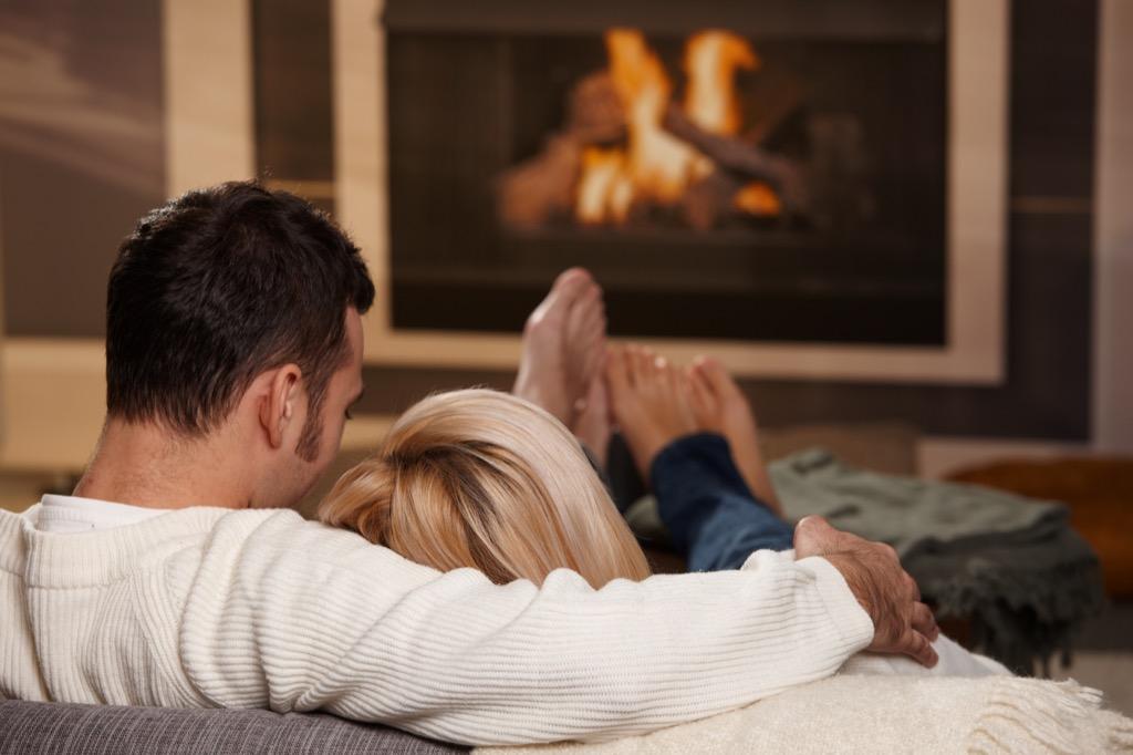 Couple in Front of Fireplace Wordplay Jokes