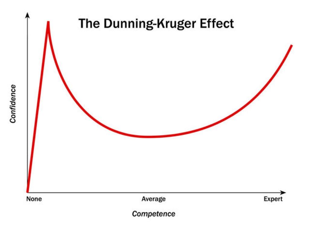 Dunning Kruger chart, risks