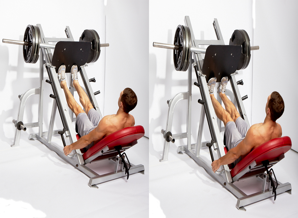 Calf raise on leg press, all-machine workout