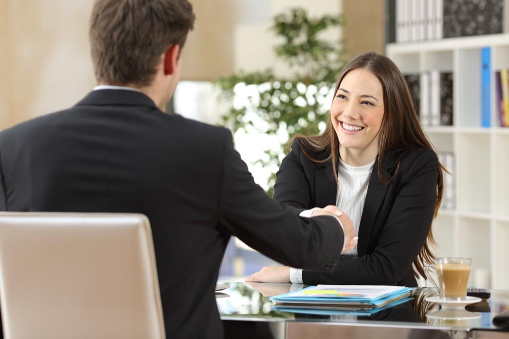 Man Interviewing a Woman