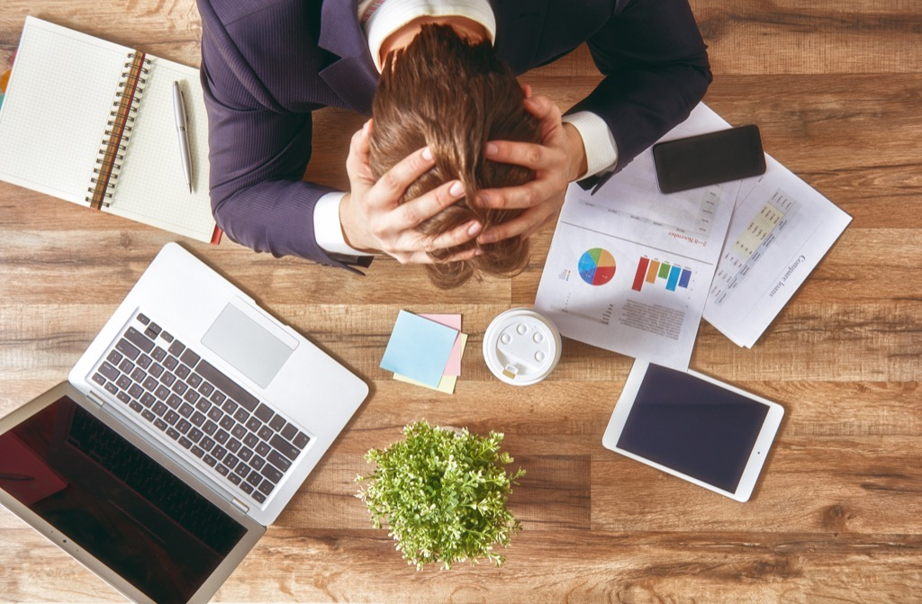 Man stressed at work dying to quit his wrong job.