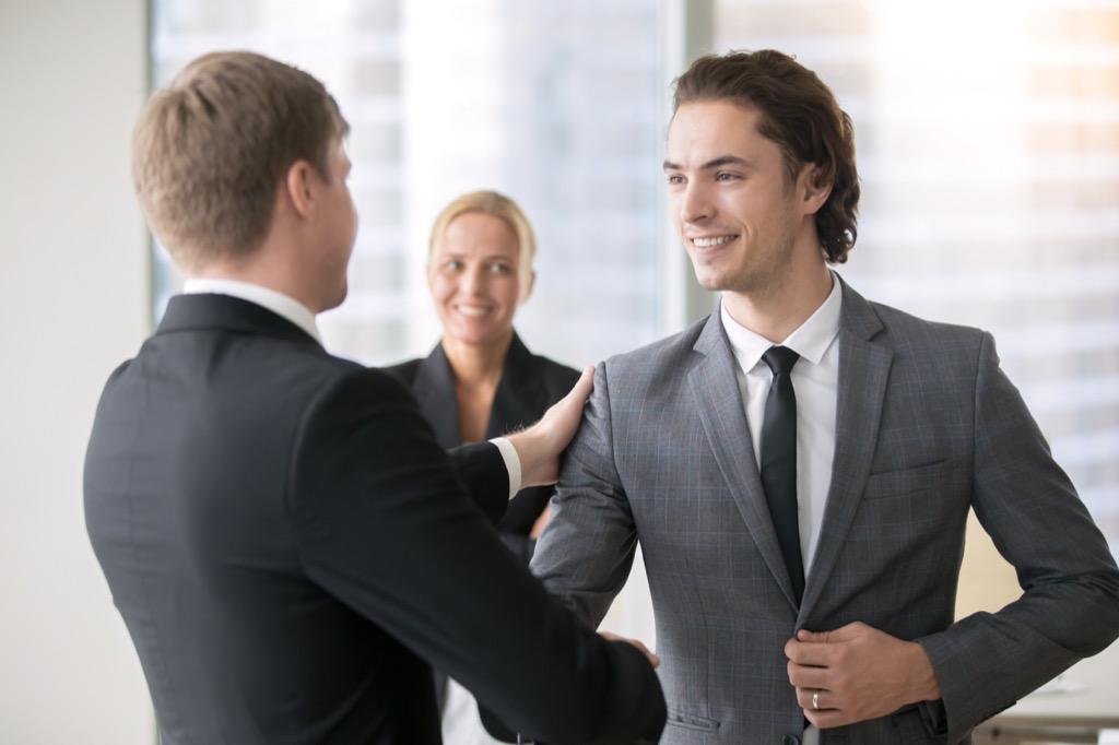 Office, handshake, raise