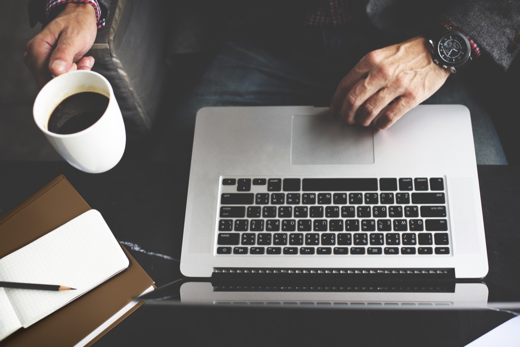 Man on Laptop Mindfulness