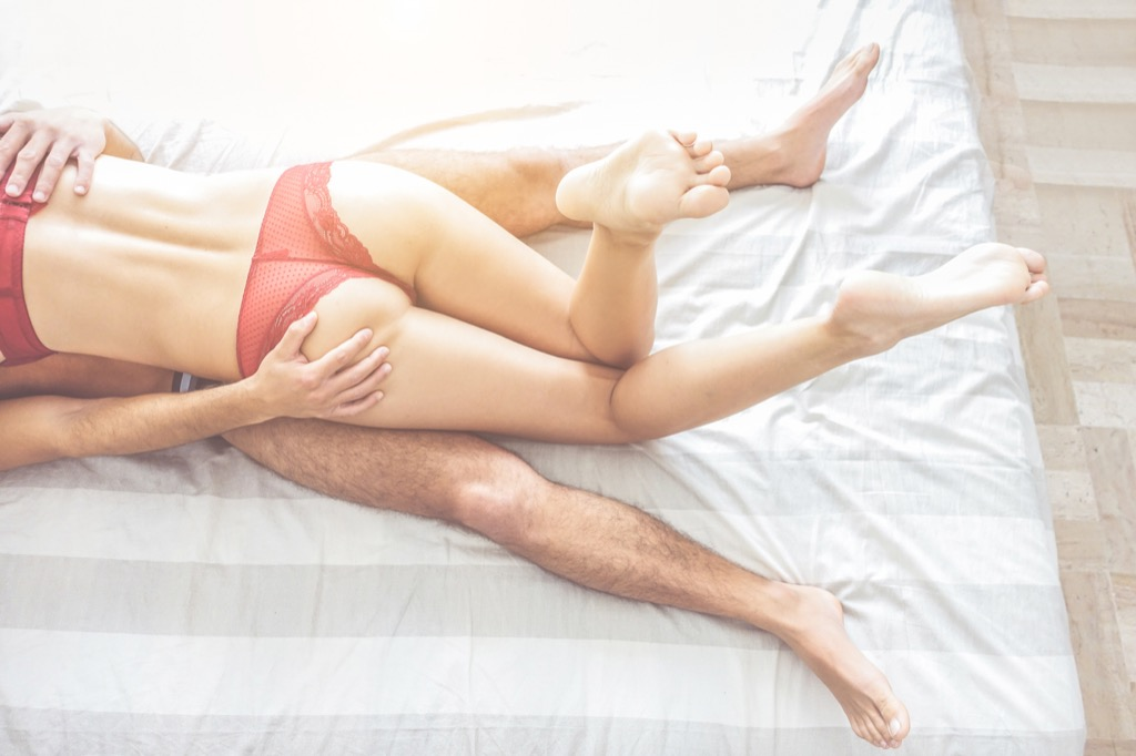 Couple having sex, a visual that represents staving off a breakup