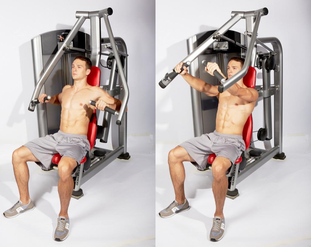 All-machine workout, chest press