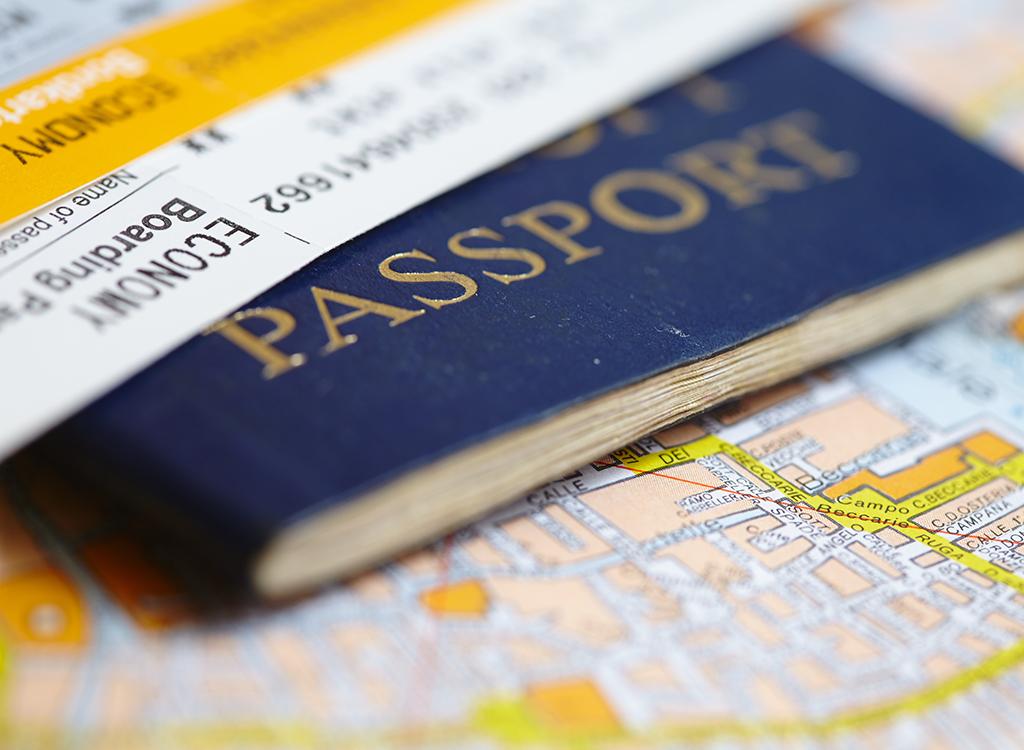Passport and plane tickets
