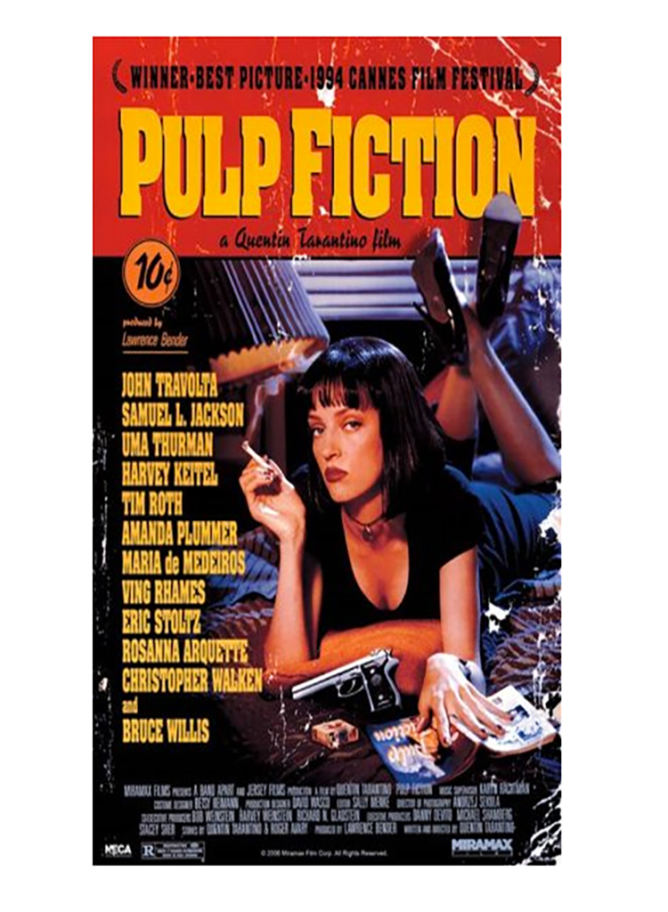 Unframed Pulp Fiction poster, 40s, what to give up in your 40s