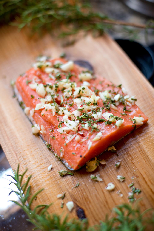 salmon, garlic, fish