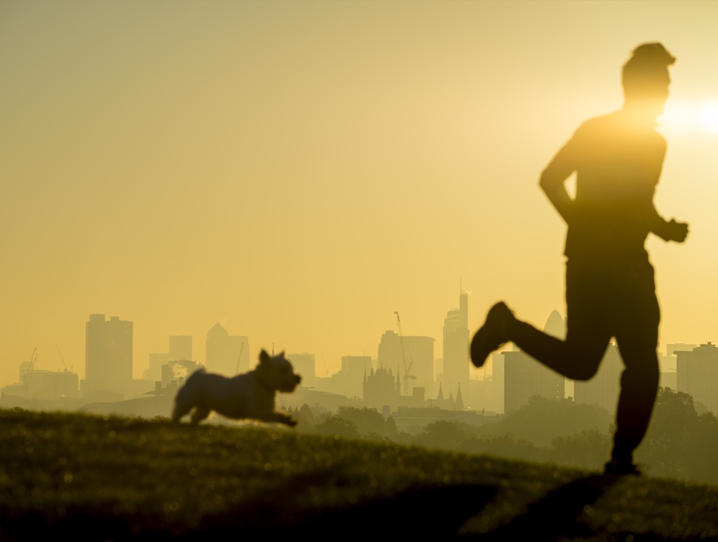 man running outside with dog at sunrise, signs your husband is cheating