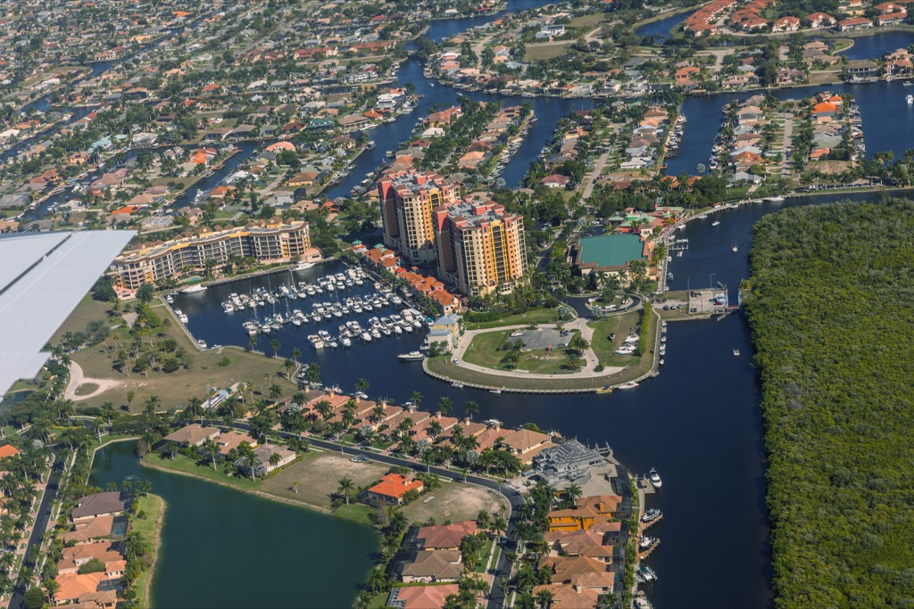 Cape Coral, happiest cities, longest-living cities, worst singles scenes, best cities to buy a mansion, flip a house, longest commutes, commute, best job opportunities, best drinking water