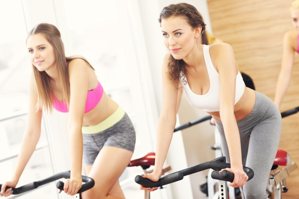 Woman in fitness class christmas depression