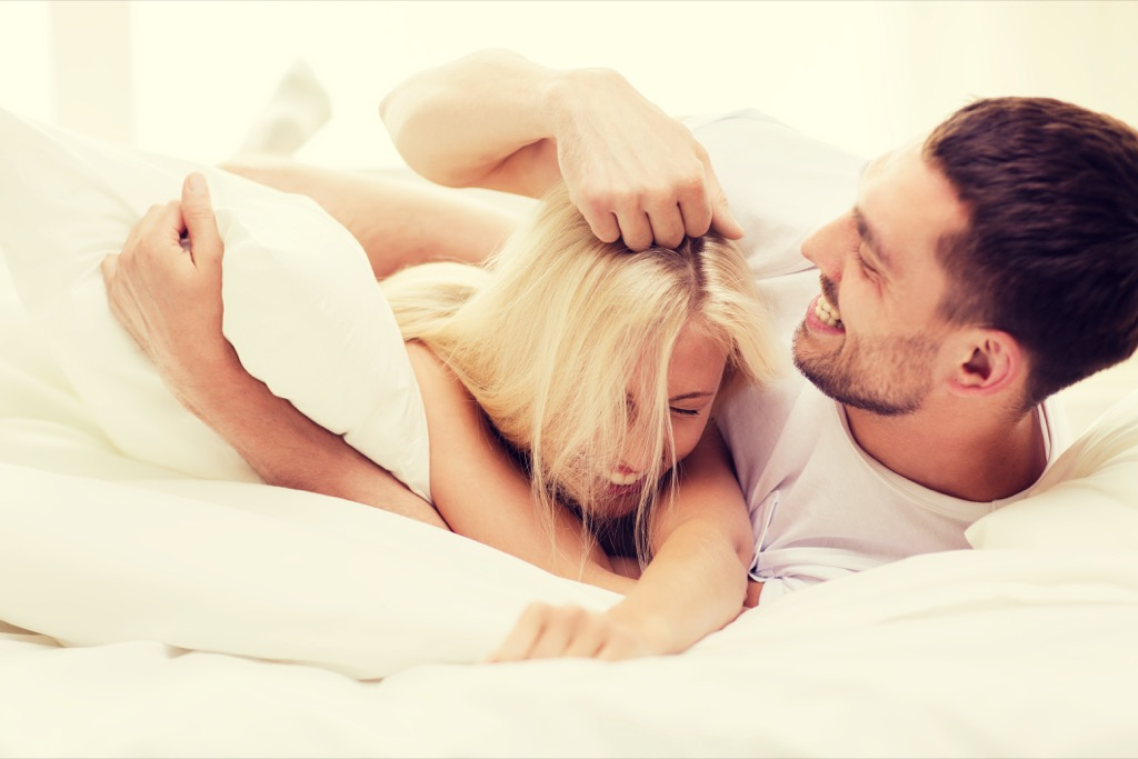 Couple in bed earlier than usual to re-set their body clock.