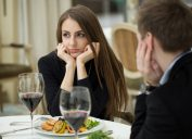 couple on a bad first date. bad first date questions were asked