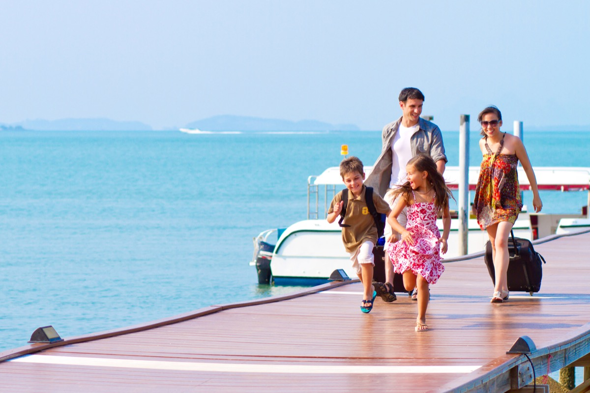 family of four on vacation in the maldives, parenting is harder