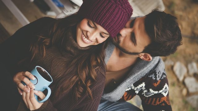 happy couple, winter, affection, in love, fall