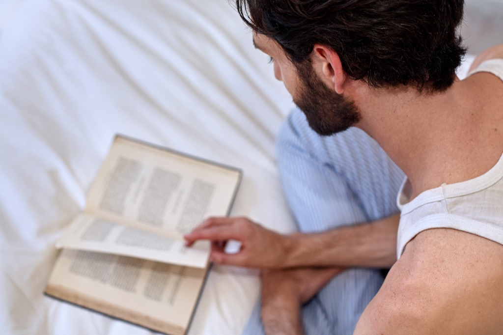 Reading in bed, scandalous
