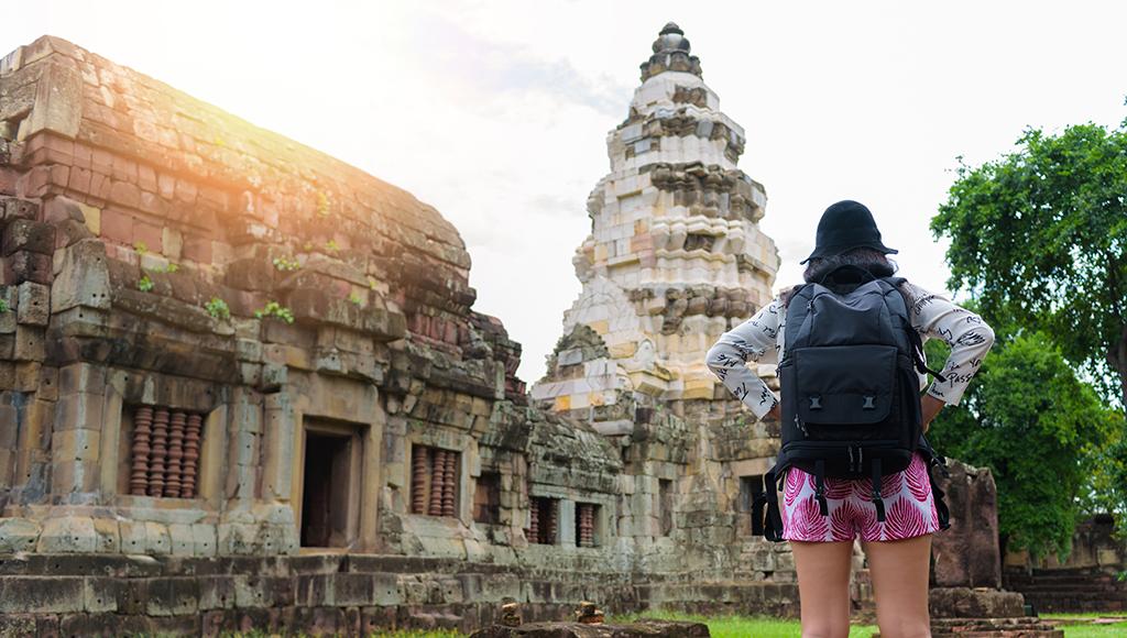 Woman traveling alone
