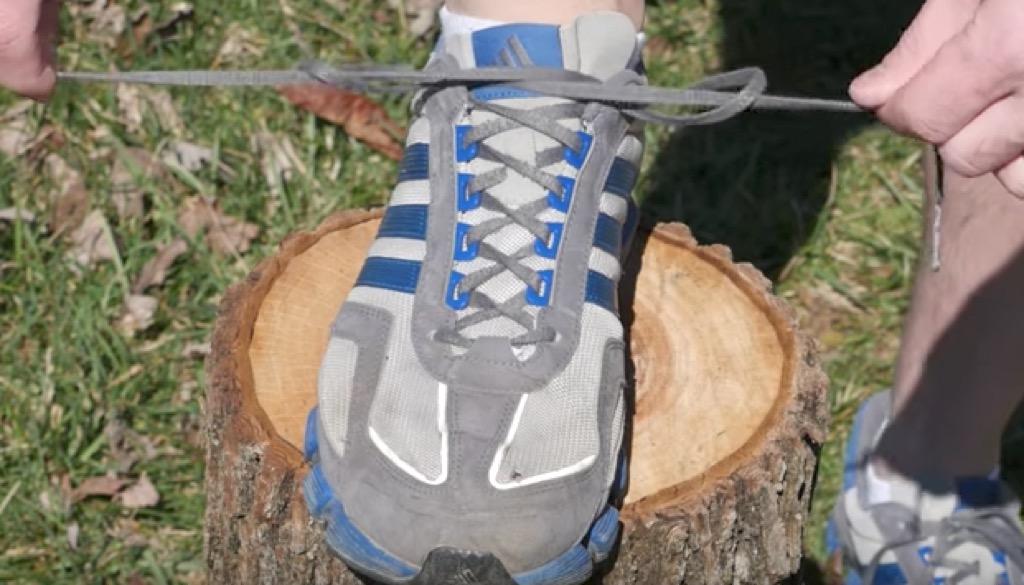 tying shoes cinching
