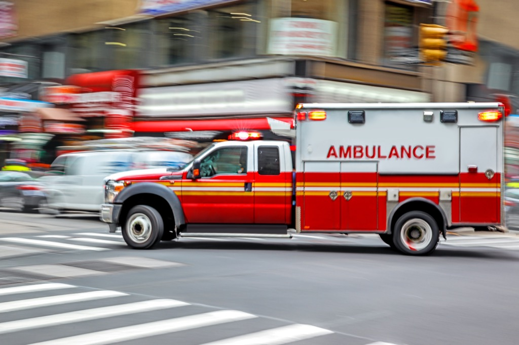 New York ambulance whizzing by on street