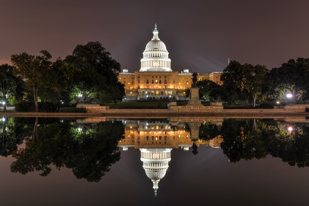 capitol hill and the reflecting pool at night