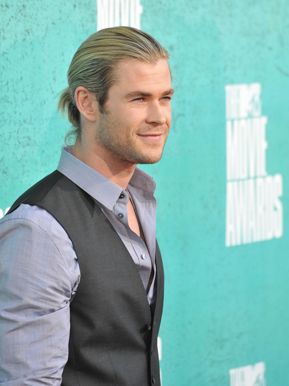 Chris Hemsworth long hair man bun