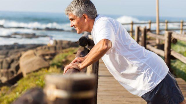 man over 40 exercising, improve memory