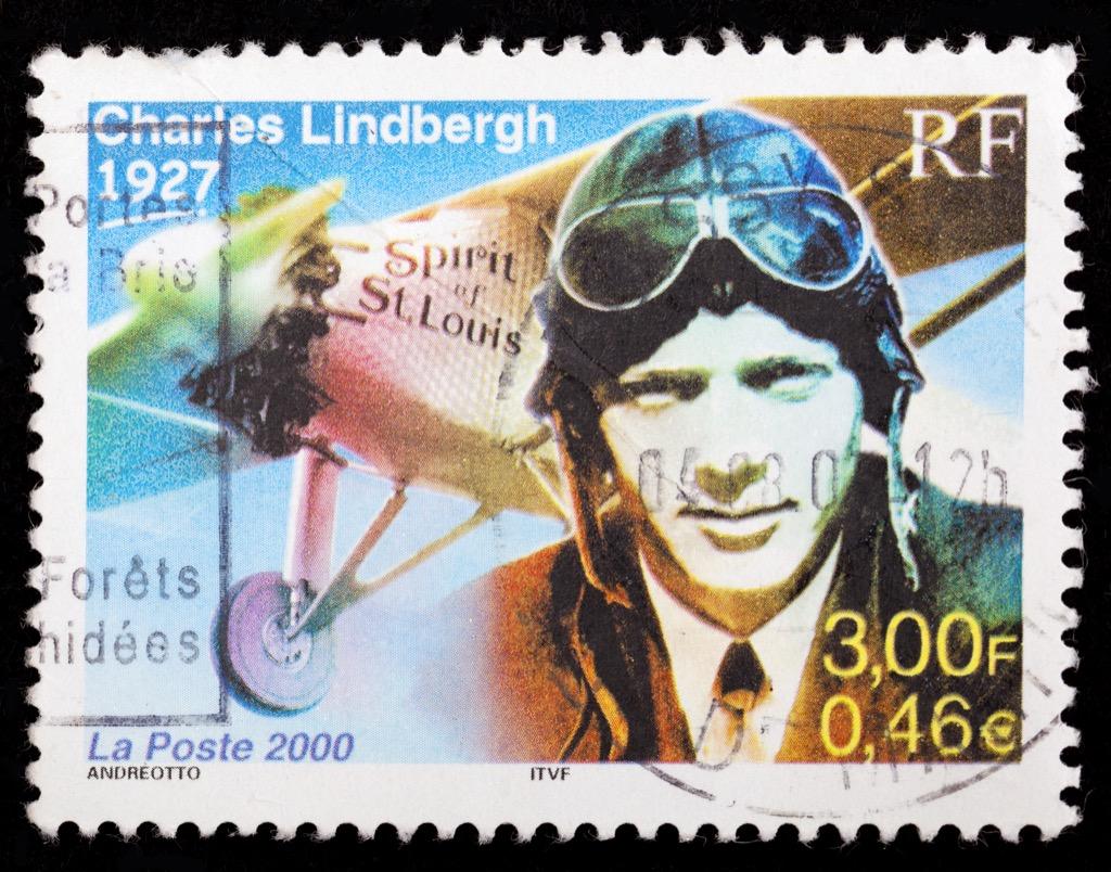 a stamp depicting charles lindbergh