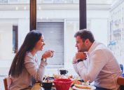 couple on date talking commitment