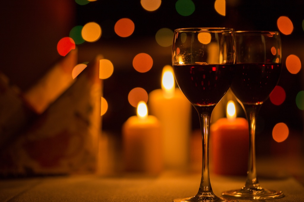 Candle lit first date.