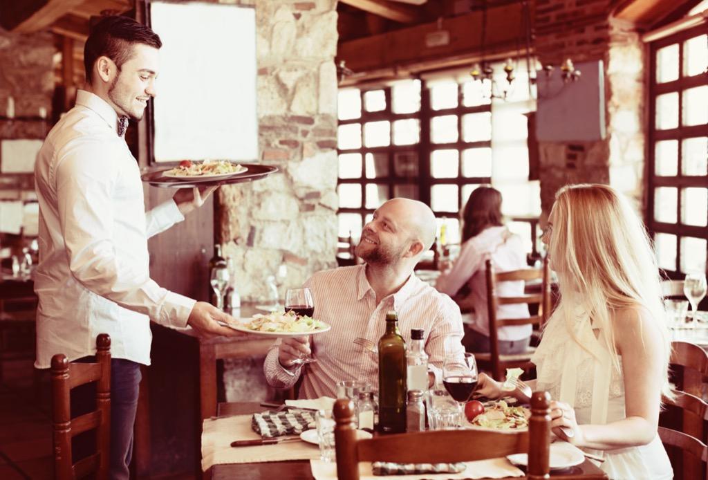 waiter at first date bar