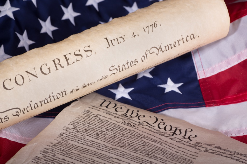 Declaration of Independence against American flag