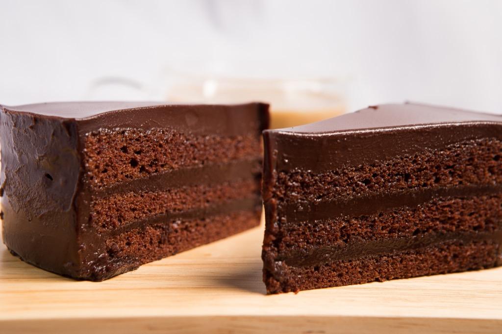chocolate cake on butcher block
