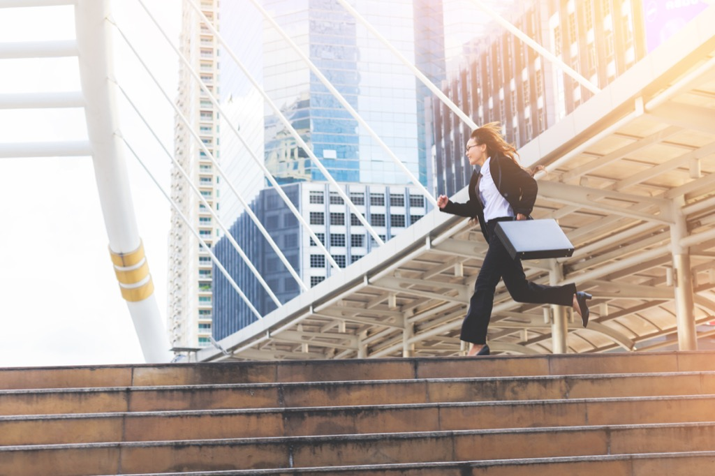 woman running late punctual