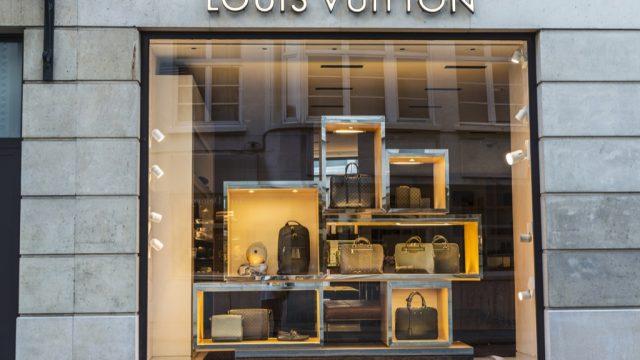Louis Vuitton store front, representing designer names.