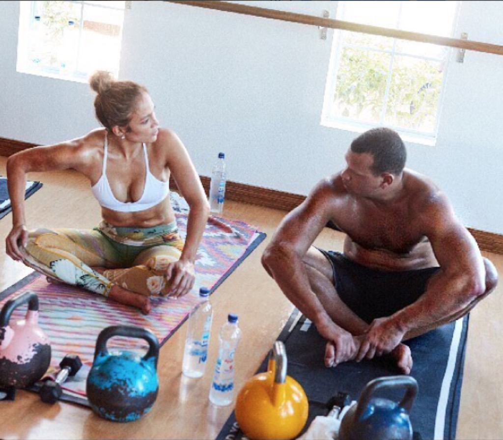 Jennifer Lopez and Alex Rodriguez working out.
