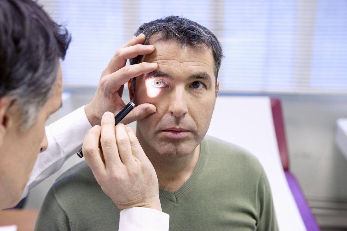 Man gets vision exam