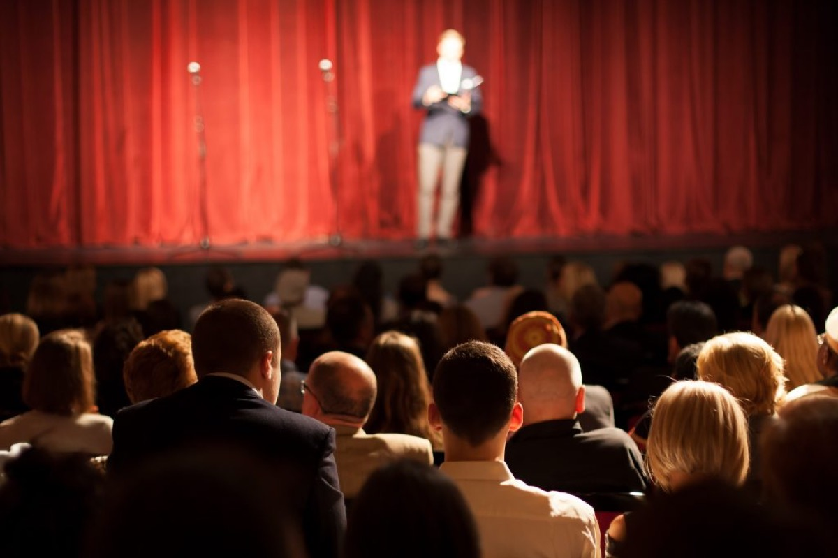 Theater with packed audience