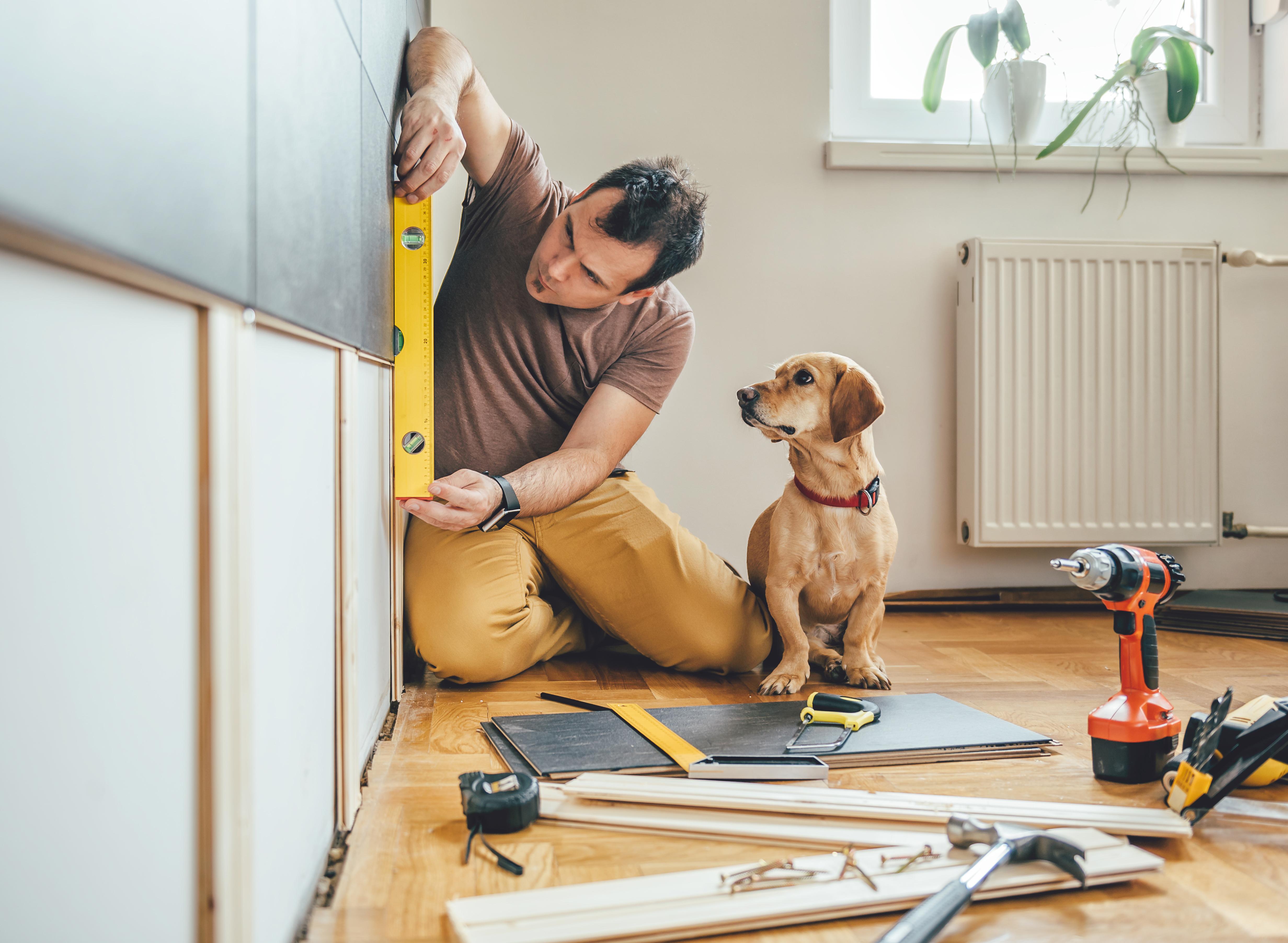 Man renovating house