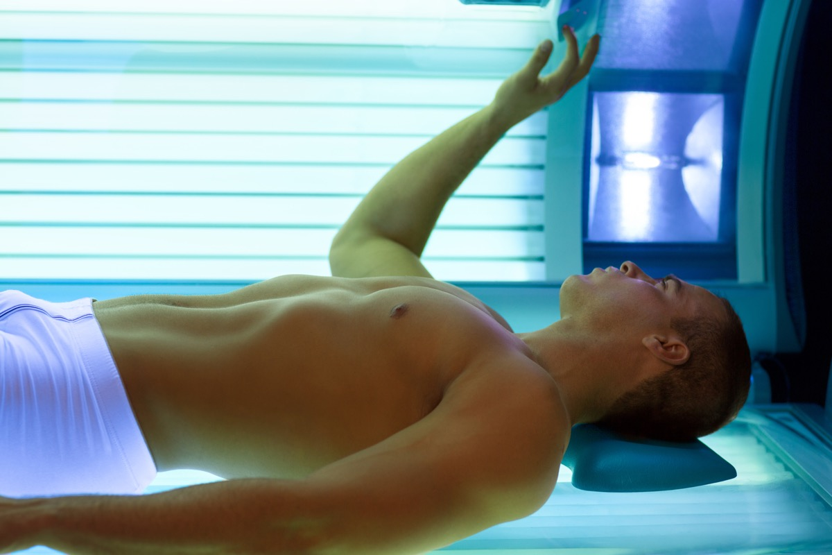 Man in a Tanning Bed, skin cancer facts